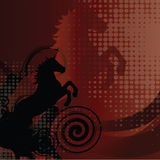 Beautiful red background with horse and swirl stock photography