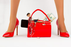 Beautiful red bag with shoes. Royalty Free Stock Photos