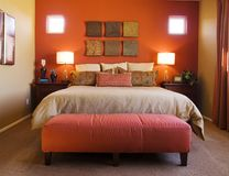 Beautiful Red Bedroom. Beautiful decor, Red stylish Bedroom Royalty Free Stock Photo