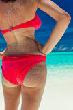 Beautiful red bikini sandy on tropical beach. Maldives stock photography