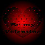 Beautiful red black background Valentine's day. Heart be my Valentine. A festive poster. Template for decorating greeting cards or making a gift. Vector Stock Photo