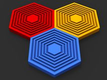 Beautiful red, blue and yellow hexagon put together. Beautiful red, blue and yellow hexagons pieced together Royalty Free Stock Photography