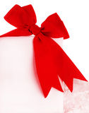 Beautiful red bow over blank card Stock Photos