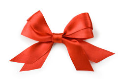 Beautiful red bow on white background. Isolate Royalty Free Stock Photography