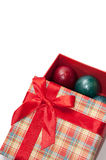 A beautiful red box with a red bow and Easter eggs Stock Images