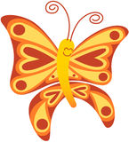 Beautiful red butterfly smiling and floating Royalty Free Stock Photography