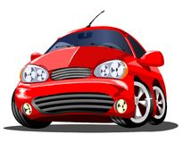 Beautiful red cartoon car on white background, vector Stock Photography