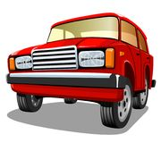 Beautiful red cartoon car on white background Stock Photos