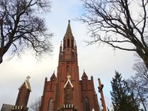 Beautiful red catholic church, Lithuania stock images