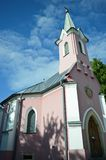 The red chapel in Balatonboglár, Hungary. The beautiful red chapel is on the Cemetery Hill close to other blue chapel. The Catholic red chapel was built in 1892 Royalty Free Stock Images