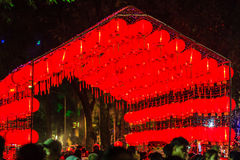 Beautiful red Chinese lantern on the night during new year festi. Val with the Chinese character Blessings written on it Royalty Free Stock Photography
