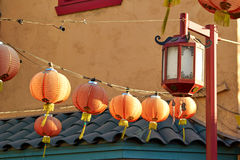 Beautiful red Chinese lanterns in Chinatown of Los Angeles Stock Photos