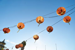 Beautiful red Chinese lanterns in Chinatown of Los Angeles Royalty Free Stock Photography