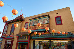 Beautiful red Chinese lanterns in Chinatown of Los Angeles Stock Photo