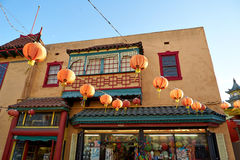Beautiful red Chinese lanterns in Chinatown of Los Angeles Stock Image