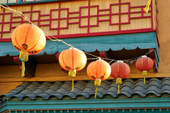 Beautiful red Chinese lanterns in Chinatown of Los Angeles Royalty Free Stock Images