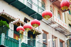 Beautiful red Chinese lanterns in Chinatown of San Francisco Royalty Free Stock Photos
