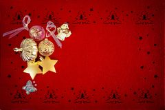 Beautiful Red Christmas background with various Gold decorations and place for your text royalty free illustration