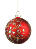 Beautiful red christmas ball with crystals Stock Images