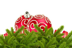 Beautiful red Christmas balls on christmas tree branch isolated Stock Photos