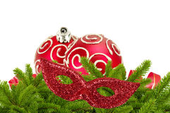 Beautiful red Christmas balls on christmas tree branch isolated Stock Photography