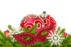 Beautiful red Christmas balls on christmas tree branch isolated Royalty Free Stock Image