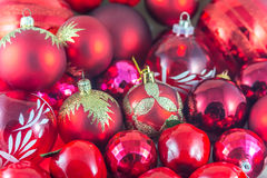 Beautiful red christmas balls group Stock Image