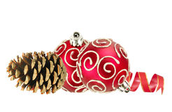 Beautiful red Christmas balls and pine cone isolated on white Stock Image
