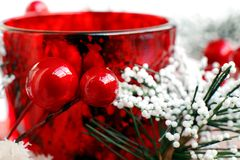 Beautiful red Christmas candle Royalty Free Stock Images