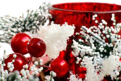 Beautiful red Christmas candle for gift Stock Image
