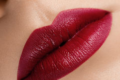 Beautiful red classic c lips Stock Images