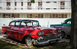 Beautiful red classic car in Cuba Royalty Free Stock Photo