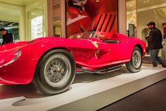 New York City, Madison Avenue - November 1, 2017:  Classic Red Ferrari on display at Ralph Lauren store Royalty Free Stock Image