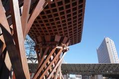 Beautiful the red-colored Tsuzumi Gate outside the Kanazawa Stat Royalty Free Stock Images