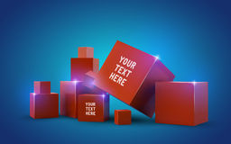 Beautiful red cubes Royalty Free Stock Photography
