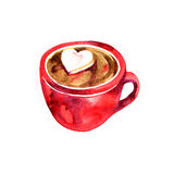Beautiful red cup. Hot chocolate and marshmallows. Watercolor illustration. Stock Photos