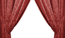 Beautiful red curtain in a classic style. isolated Stock Photos