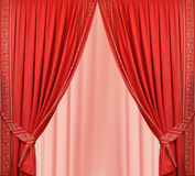 Beautiful red curtain in the interior Stock Photos