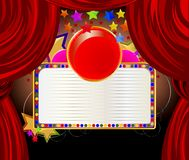 Beautiful red curtains and stars background Stock Images