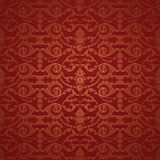 Beautiful red damask seamless pattern background Stock Photo