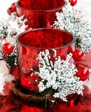 Beautiful red decorated Christmas candles for gift Royalty Free Stock Image
