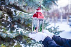 Beautiful red decorative Christmas lantern on warm Royalty Free Stock Photo