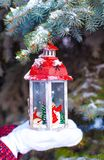 Beautiful red decorative Christmas lantern on warm Royalty Free Stock Image