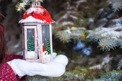 Beautiful red decorative Christmas lantern on warm Royalty Free Stock Photography