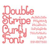 Beautiful red double stripe curly font. Isolated alphabet. Beautiful red double stripe curly font. Isolated english alphabet of capital and lowercase letters Stock Photography