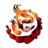 Red fairy bird phoenix. Beautiful red fairy phoenix bird on a white background. Insulation Stock Photography
