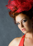 Beautiful red fashion model Royalty Free Stock Photography