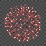 Beautiful red firework. Bright salute  transparent background. Light decoration firework for Christmas, New Year. Celebration, holiday, festival, birthday card Royalty Free Stock Images