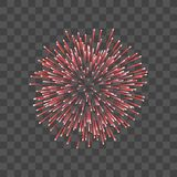 Beautiful red firework. Couple romantic salute  transparent background. Light decoration firework for Christmas. New Year, Valentine Day celebration. Symbol of Stock Photo