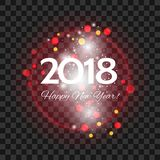 Beautiful red fireworks with  greetings  Happy New Year 2018 on. Beautiful red fireworks with a bright flash of light and the greetings  Happy New Year 2018 on a Royalty Free Stock Image